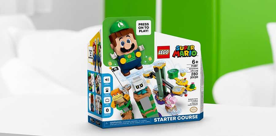 La caja del set de Lego Luigi es muy similar a la caja del set original de Lego Mario. Foto: The Lego Group