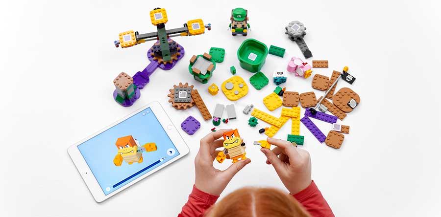 El set de Lego Luigi incluye una app para teléfonos inteligentes y tabletas para acompañar el ensamblaje y el juego. Foto: The Lego Group