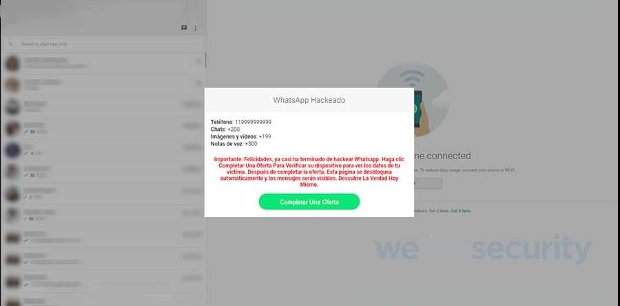 Algunos sitios fraudulentos ofrecen 'hackear' WhatsApp, pero realmente buscan afectar a los usuarios. Foto: ESET